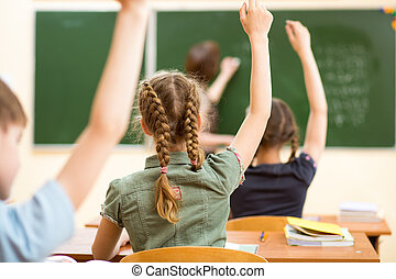 crianças escola, em, sala aula, em, lição