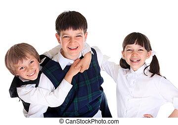 crianças escola, feliz