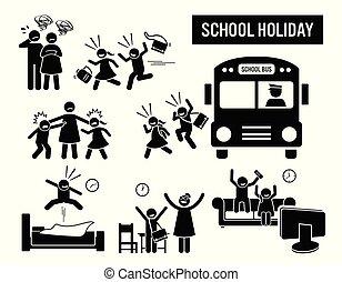 crianças escola, holiday.
