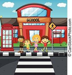 crianças, esperando, cruzar, a, estrada, frente, escola