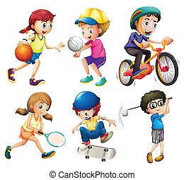crianças, esportes