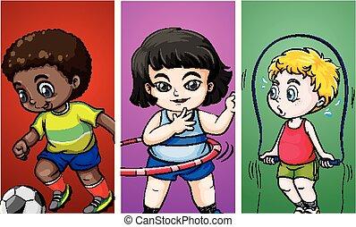 crianças, esportes, três, diferente