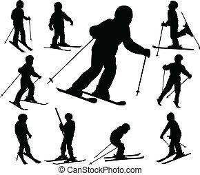 crianças, esquiando