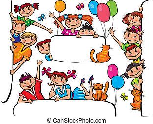 crianças, estar, painél publicitário