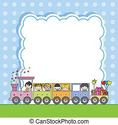 crianças, estrada ferro