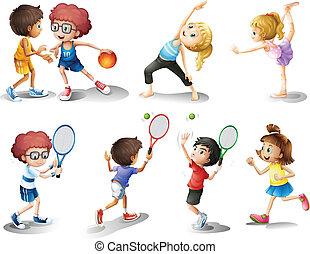crianças, exercitar, e, tocando, diferente, esportes