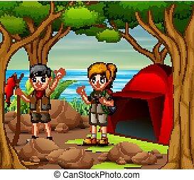 crianças, explorador, acampamento, natureza, equipamento, caricatura, saída