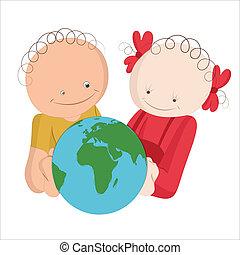 crianças, explorar, globo