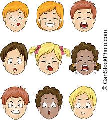 crianças, expressão facial
