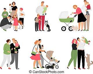 crianças, família, feliz