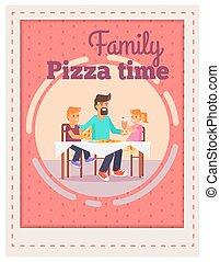 crianças, família, pai, modelo, tempo, pizza