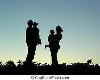crianças, família, sundown