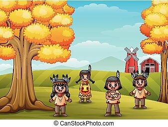 crianças, fazenda, indian americano, fundo, caricatura, nativo