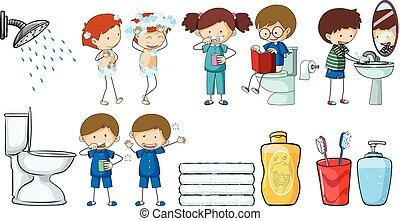 crianças, fazendo, diferente, rotina, atividades