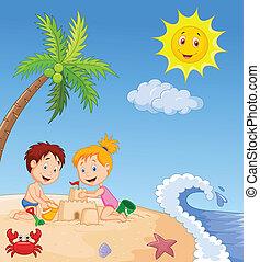 crianças, fazer, castelo areia, em, trop