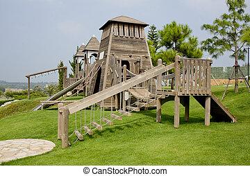 crianças, feito, parque, madeira, pátio recreio