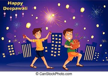 crianças, festival, índia, diwali, firecracker, celebrando, desfrutando