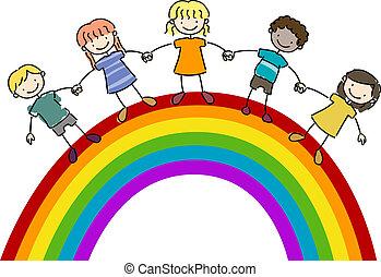 crianças, ficar, cima, um, arco íris