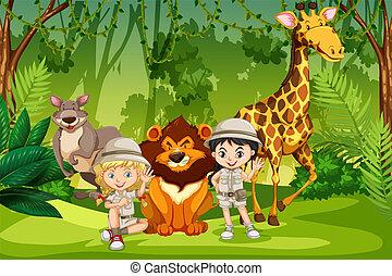 crianças, floresta, acampamento