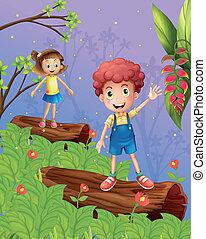 crianças, floresta, tocando
