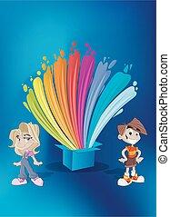 crianças, frente, coloridos, pintura