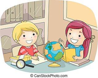 crianças, geografia, estudo, sala