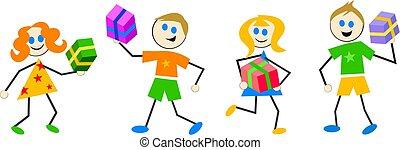 crianças, giftbox