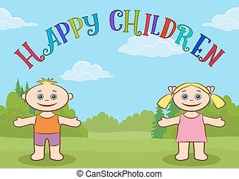 crianças, glade, floresta