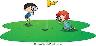 crianças, golfe, chão