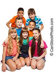crianças, grupo, 7, junto