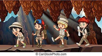 crianças, grupo, caverna, hiking