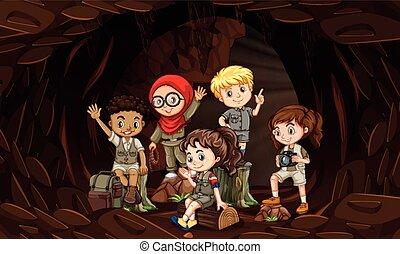 crianças, grupo, caverna, interational