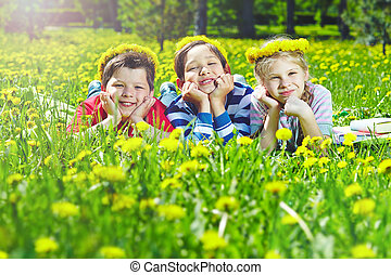 crianças, grupo