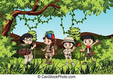 crianças, grupo, hiking