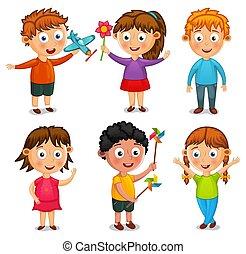 crianças, grupo, ilustração, vetorial, caricatura, feliz