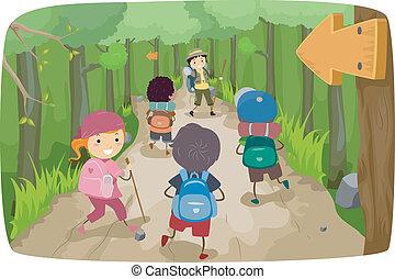 crianças, hiking