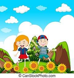 crianças, hiking, natureza