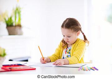 crianças, homework., ler, escreva, paint., criança