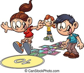 crianças, hopscotch