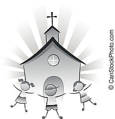 crianças, igreja