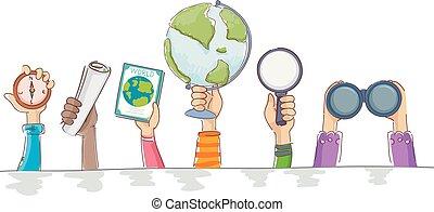 crianças, ilustração, elementos, mãos, borda, geografia