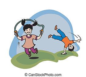 crianças, ilustração, g, tocando
