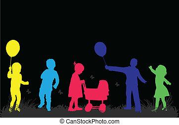 crianças, ilustração, natureza, vetorial