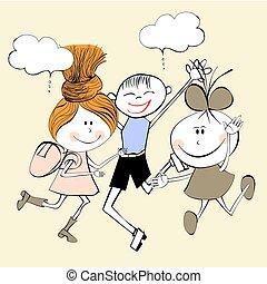 crianças, ilustração, rir