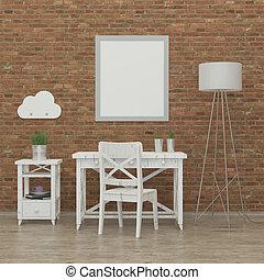 crianças, imagem, fazendo, quarto, interior, 3d