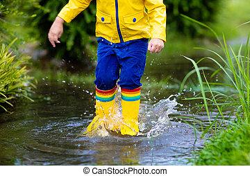 crianças, impermeável, poça, outono, desgaste, rain.