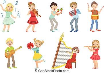 crianças, instrumentos, jogo, música, cantando, tocando