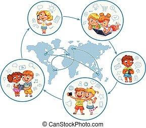 crianças, interaja, com, um ao outro, ligado, social, redes, ao redor mundo