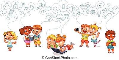 crianças, interaja, com, um ao outro, ligado, social, redes