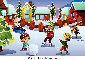 crianças, inverno, estação, neve, durante, tocando